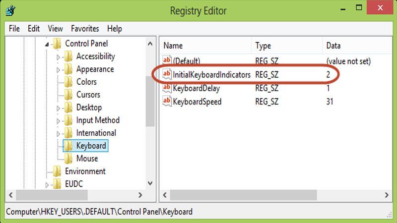 Windows Açılışında Numlock'u Aktif Etmek