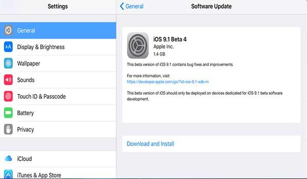 sadecedestek.net - iOS 9.1 Update Geliştiriciler İçin Yayınlandı